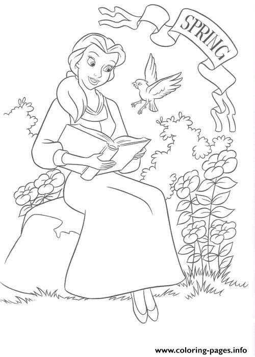 Belle in a spring day disney princess 7528 coloring pages for Disney spring coloring pages