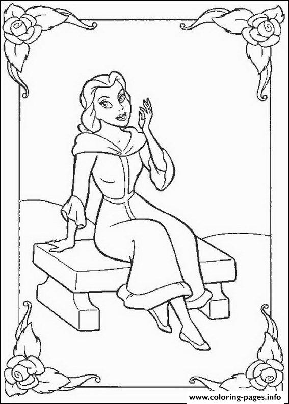 Belle Sitting In Winter Day Disney Princess 0686 Coloring Pages