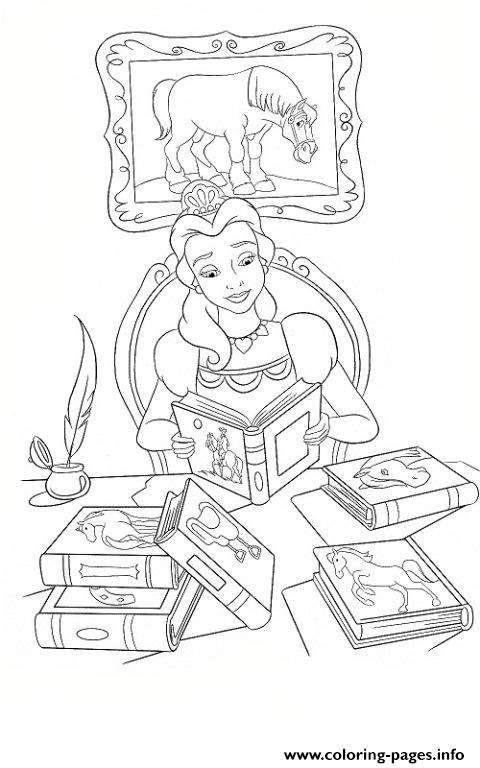 Belle Reading Books Disney Princess 4286 Coloring Pages Printable