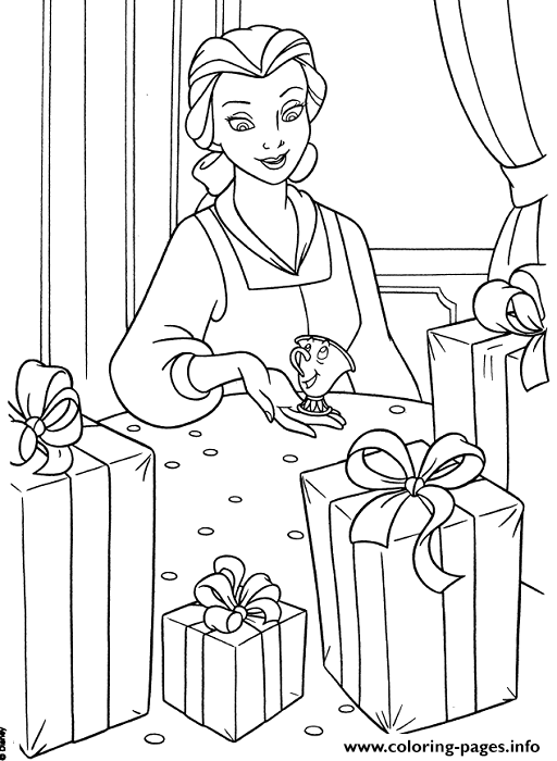 Belle Got Lots Of Presents Disney Princess E93a Coloring Pages
