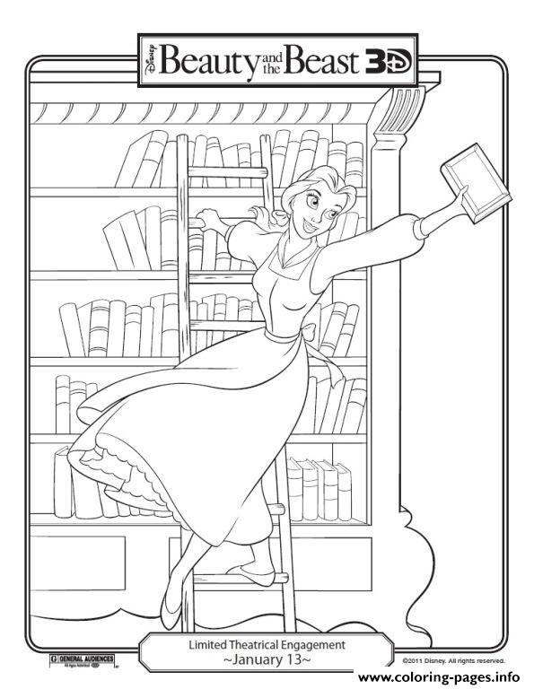 Belle In Library Disney Princess Cca6 Coloring Pages Printable