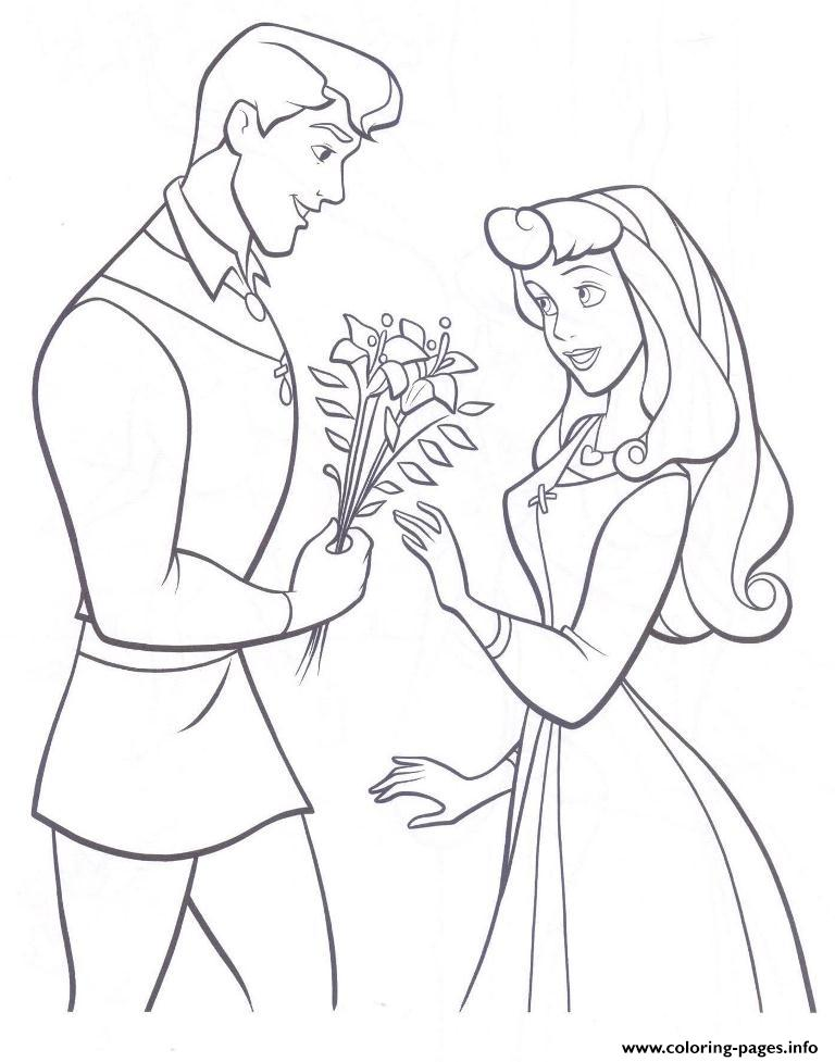 The Prince Giving Aurora Flowers Coloring Pageb21c coloring pages