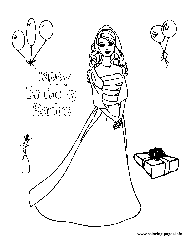 Happy Birthday Barbie S78a7 Coloring