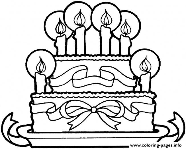 Ribbon And Cake Happy Birthday S Free9a6d Coloring Pages Printable