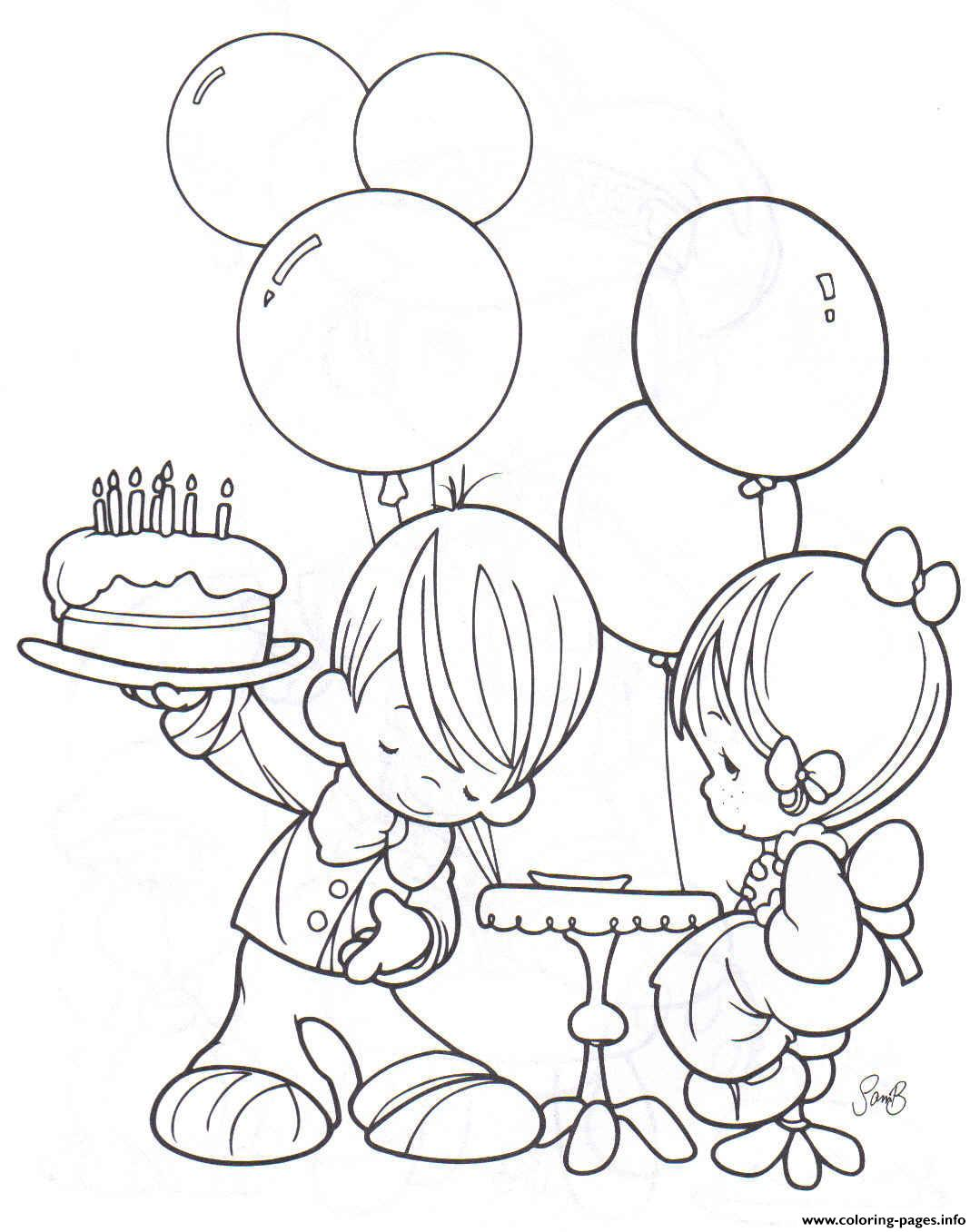 boy and girl free birthday s87d5 coloring pages