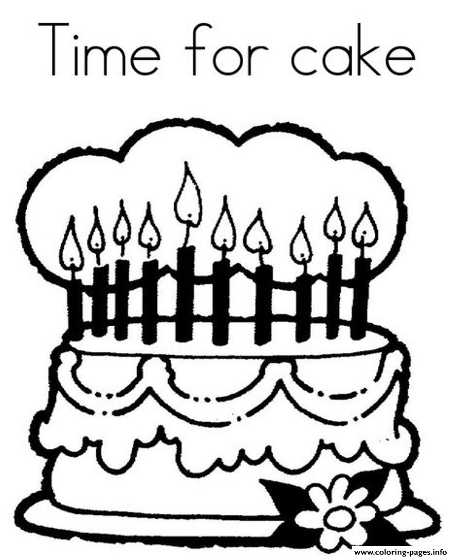 Time For Birthday Cake 2b7a Coloring Pages Printable