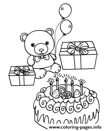 Teddy Happy Birthday Bear 9265 coloring pages