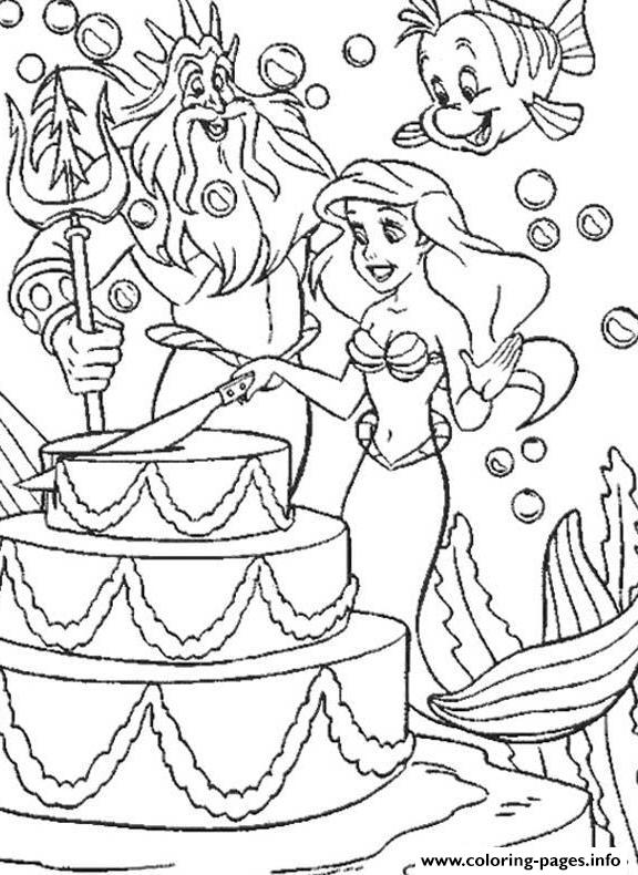 Ariel Birthday Coloring Pages - Worksheet & Coloring Pages