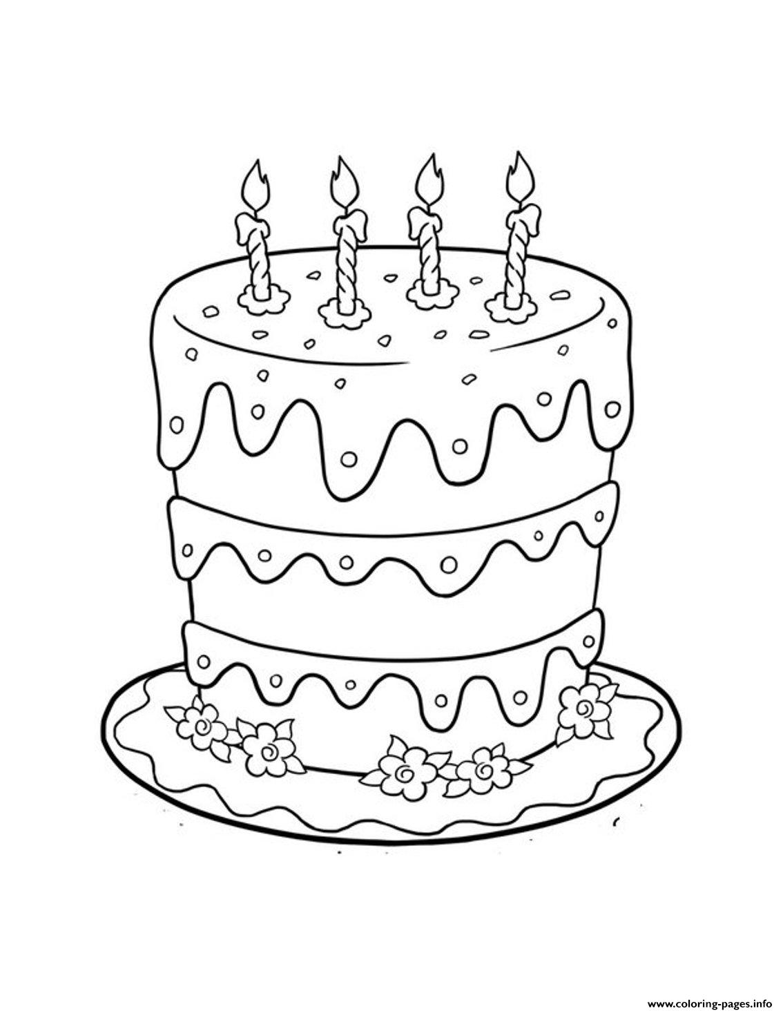 Birthday Cake Pictureba5e Coloring Pages Printable