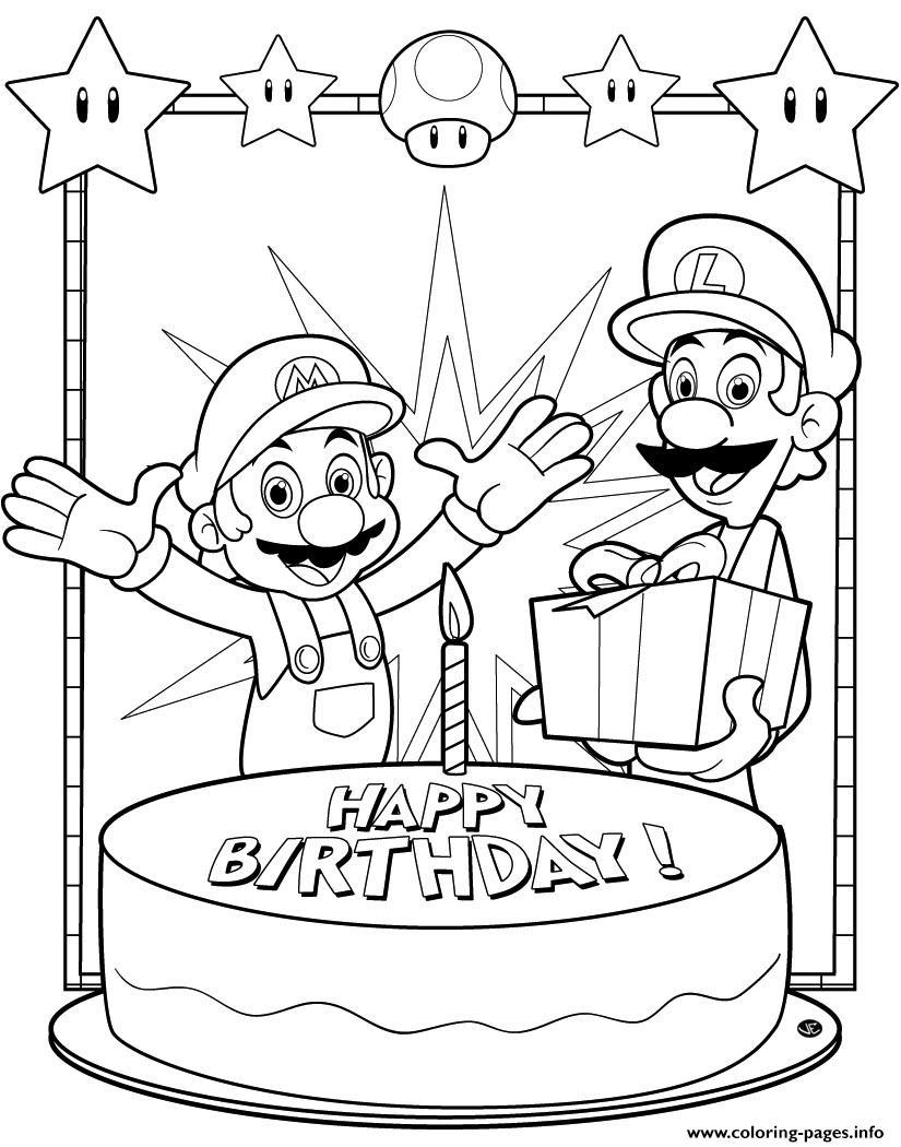 Super Mario Bros Happy Birthday S Free87b6 Coloring Pages Printable