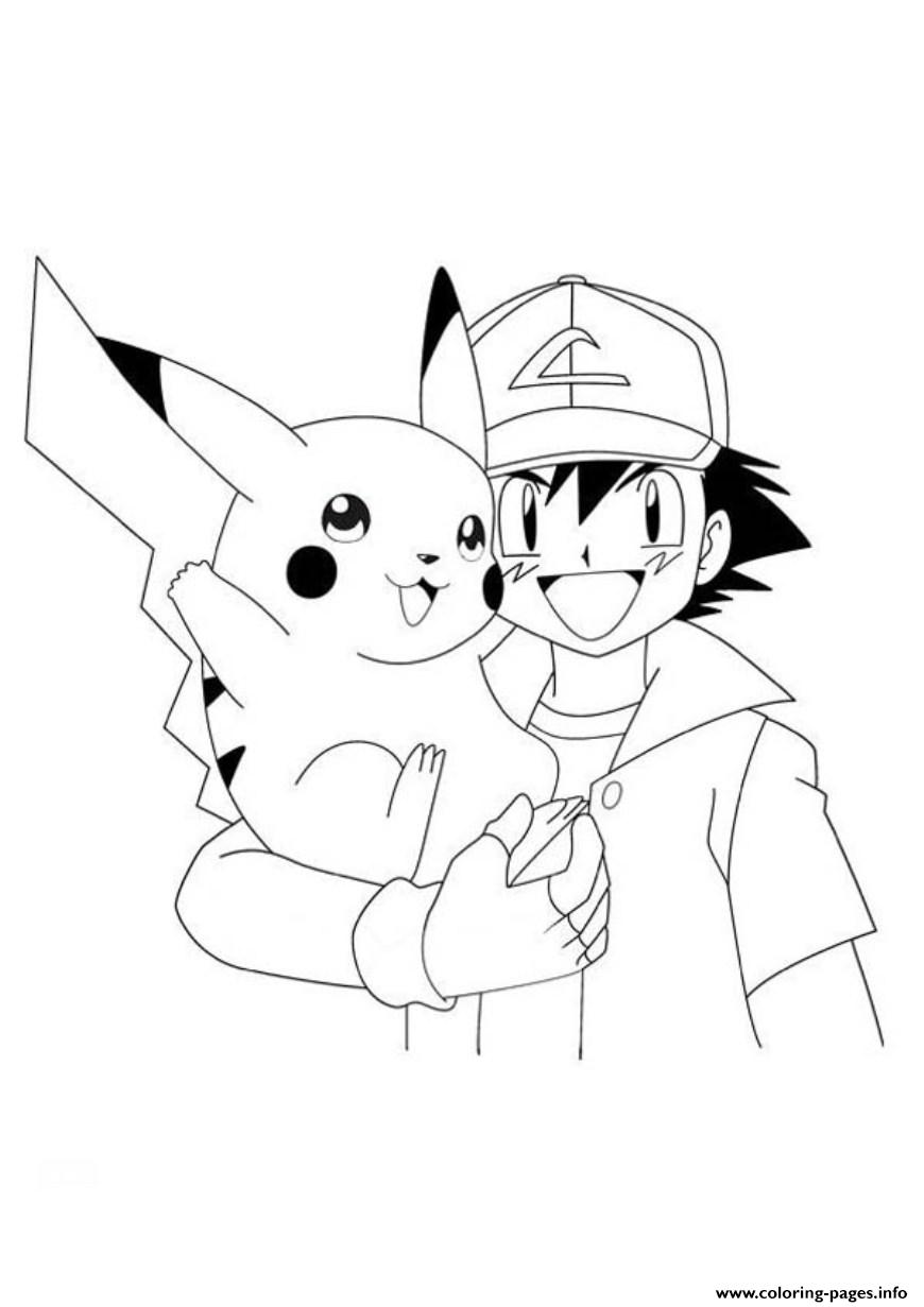 Ash and pikachu s pokemon0cfa coloring pages printable for Pikachu coloring page