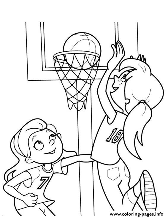 girls playing basketball s3d3d coloring pages printable - Basketball Coloring Pages Print