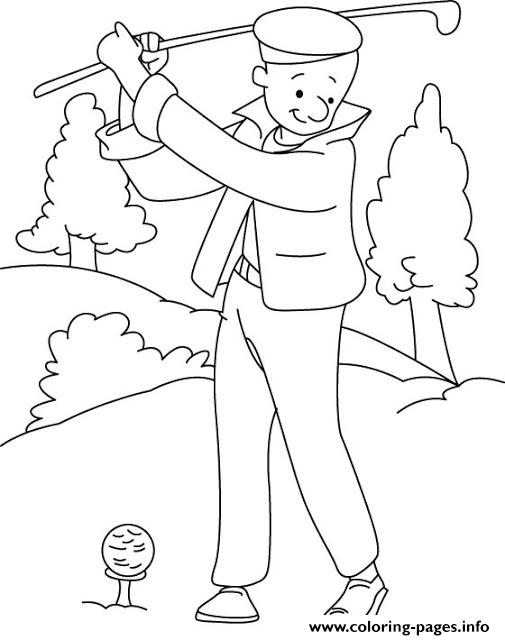 Playing Golf Sports S5619 coloring pages