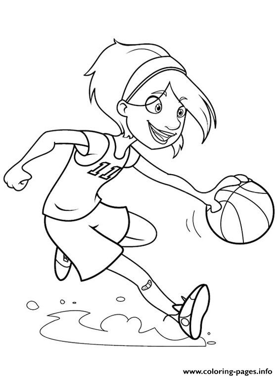 Girl Playing Basketball S55a1 Coloring Pages Printable