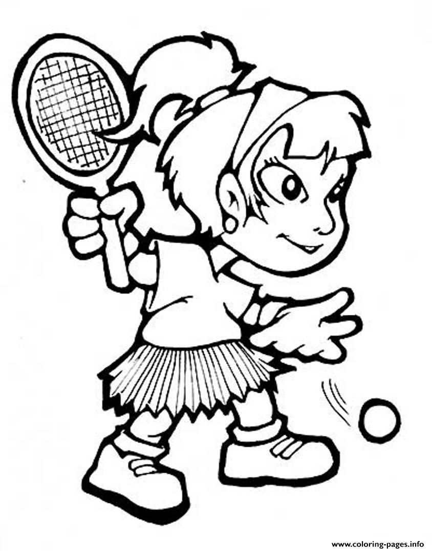 Girl Playing Tennis S66d0 coloring pages