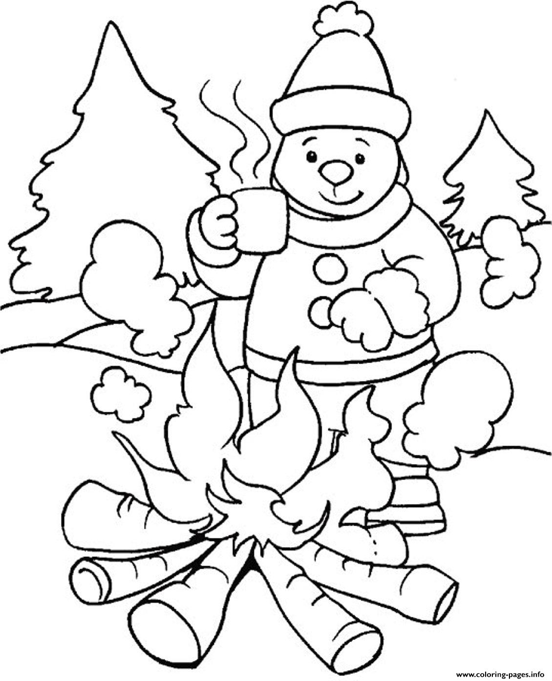 Free winter coloring pages for kids - Warming With Fire In Winter Sfbbd Coloring Pages