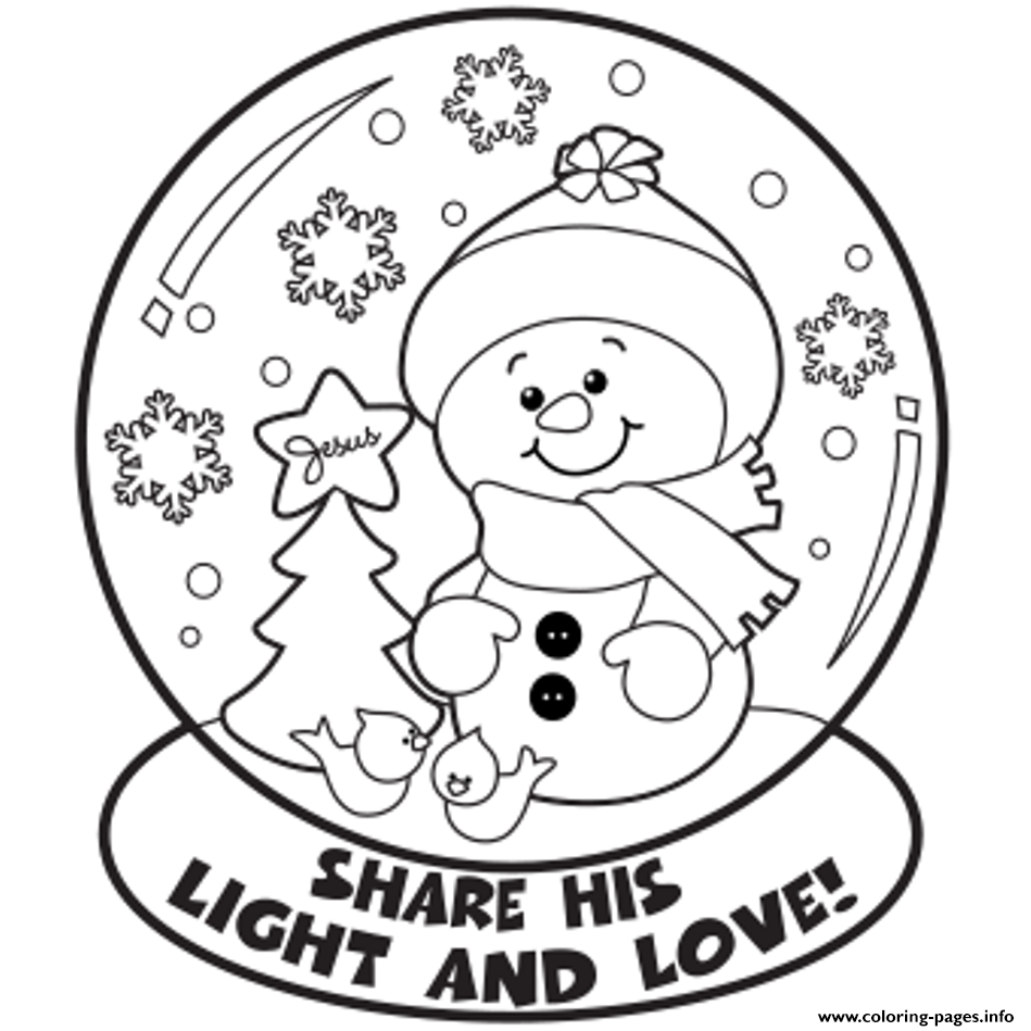 Snow Globe Winter S7cae Coloring Pages Printable
