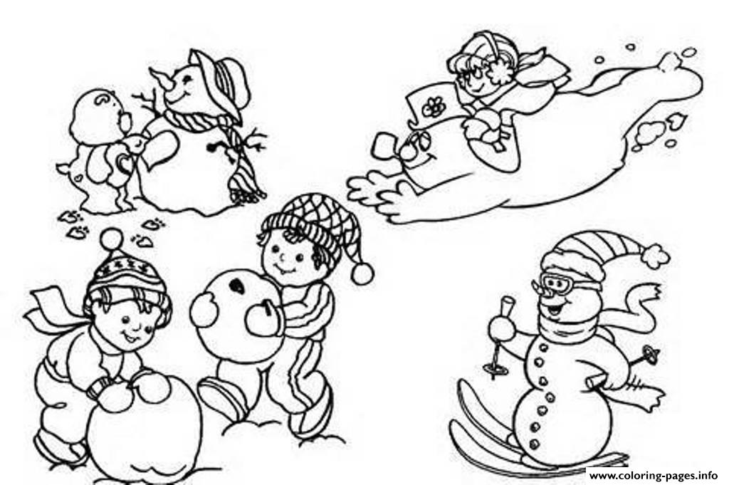 Playing Snow Winter S For Kids8410 coloring pages