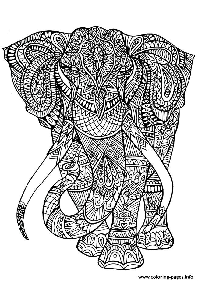 Adult coloring pages elephant coloring pages printable Coloring book elephant