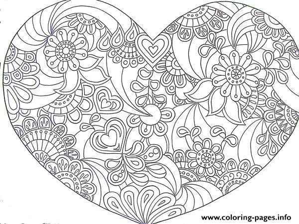 heart love valentin day 2016 coloring pages printable - Heart Coloring Pages Print
