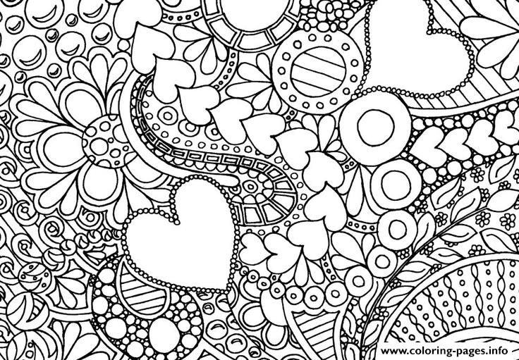 Heart Love Valentin Day Coloring Pages Printable