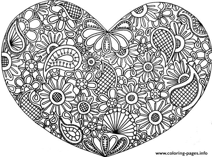 Adult mandala heart love 2016 coloring pages printable for Love mandala coloring pages