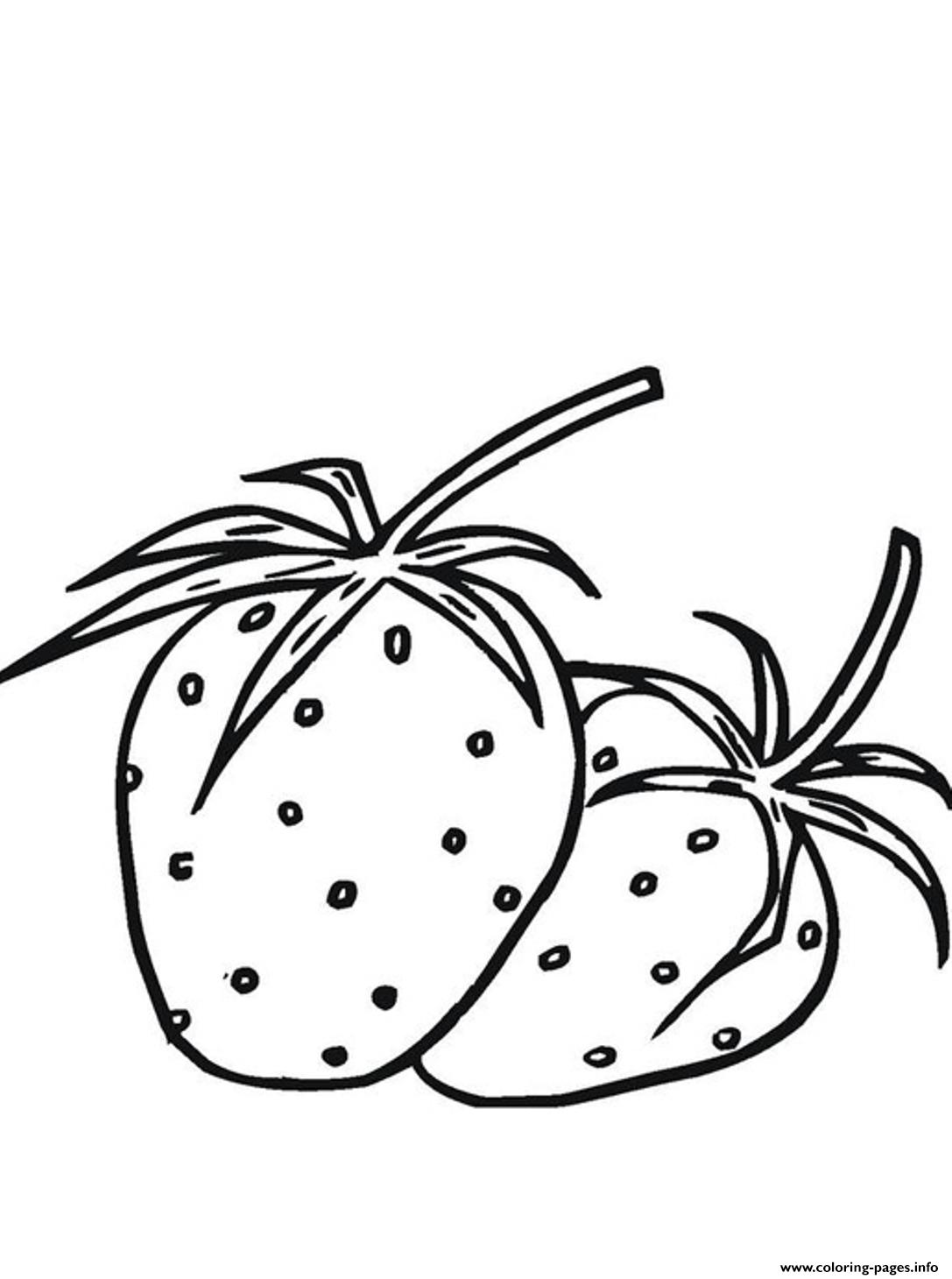 two strawberry fruit se125 coloring pages printable