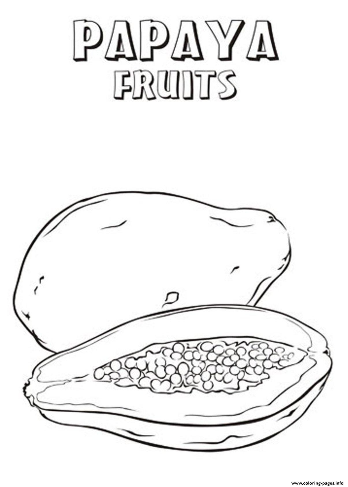 Mango coloring pages 4 coloringpagehub - Printable Papaya Fruit S3e35 Coloring Pages Printable