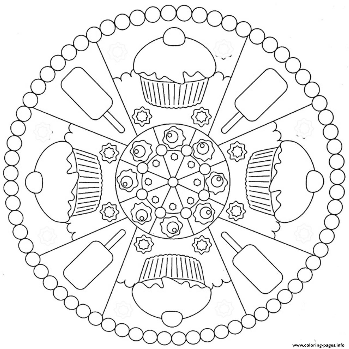 mandala coloring pages kids - cookies and ice cream mandala s31a7 coloring pages printable