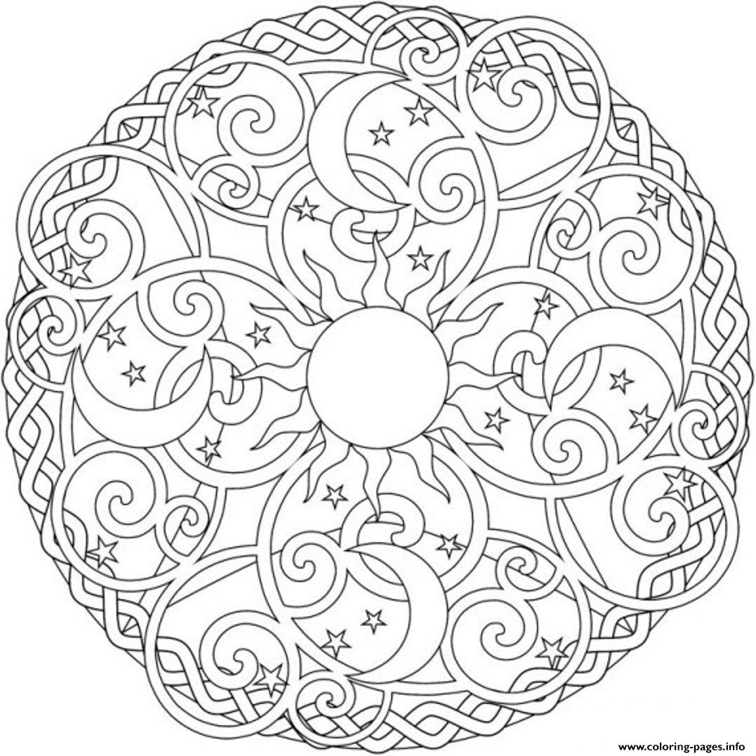 sun and moon coloring pages for adults Sun Moon And Stars Mandala S2ada Coloring Pages Printable sun and moon coloring pages for adults