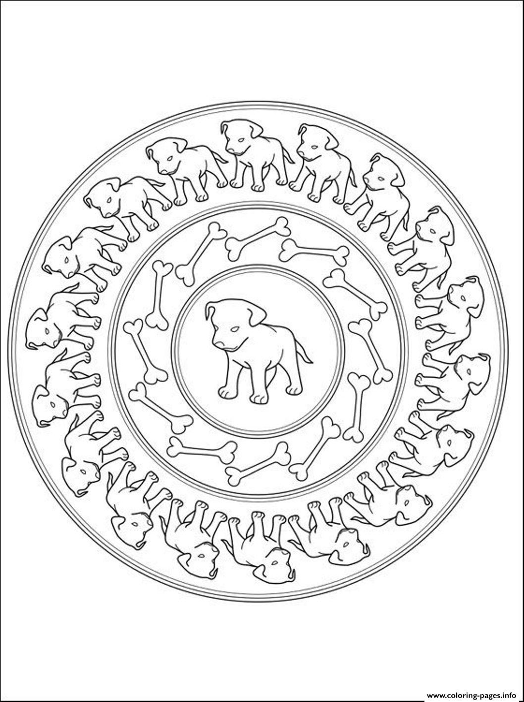 Puppies Mandala Sa6ca Coloring