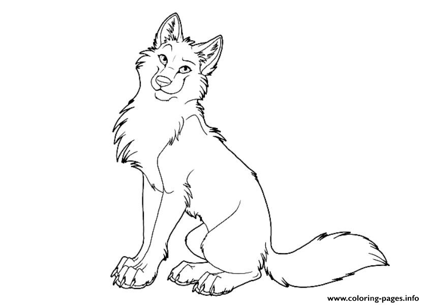 Cartoon Cute Wolf Coloring Pages