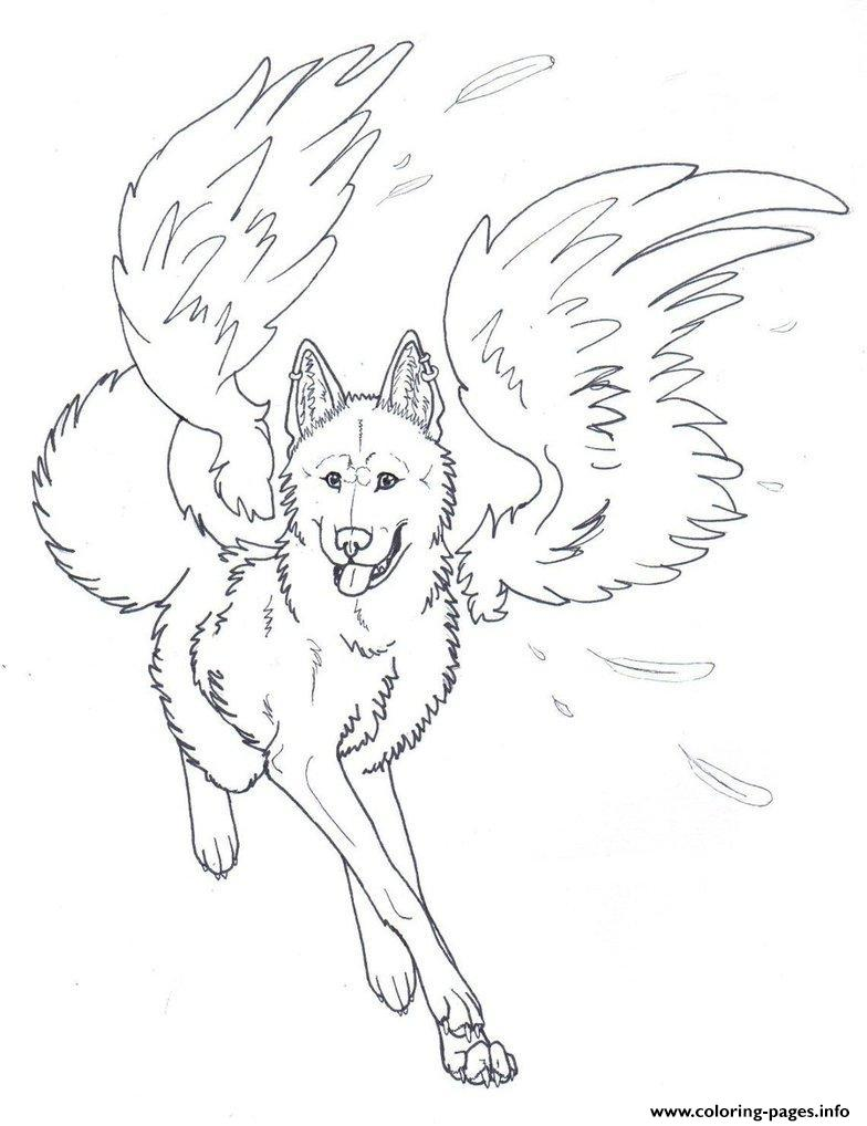 Winged Wolf Angel Coloring Pages