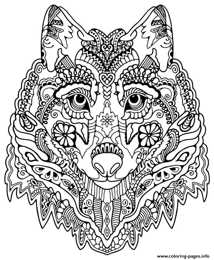 cute wolf adult mandala grown up coloring pages - Adult Coloring Pages Mandala