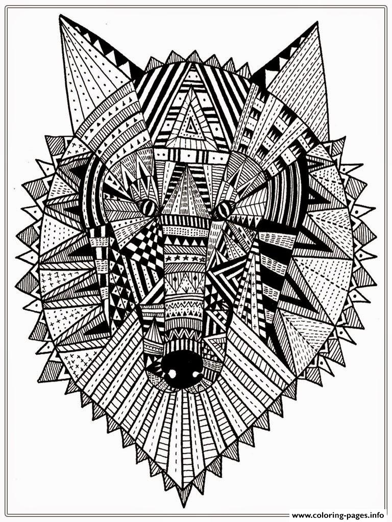 Print wolf head mandala adult Coloring pages Free Printable