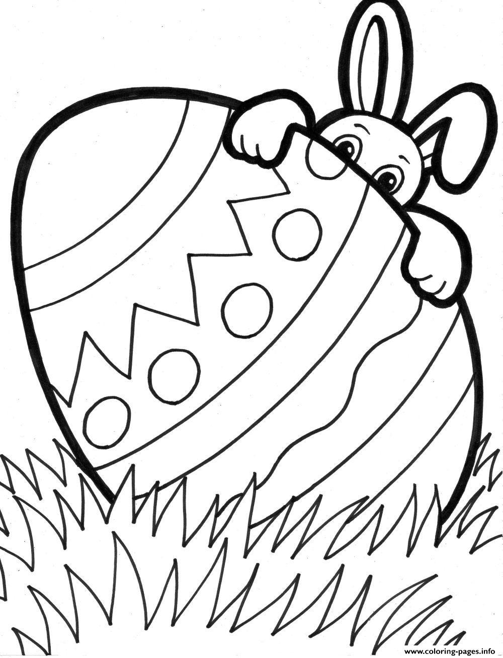 Easter With Cute Bunny Coloring Pages Printable