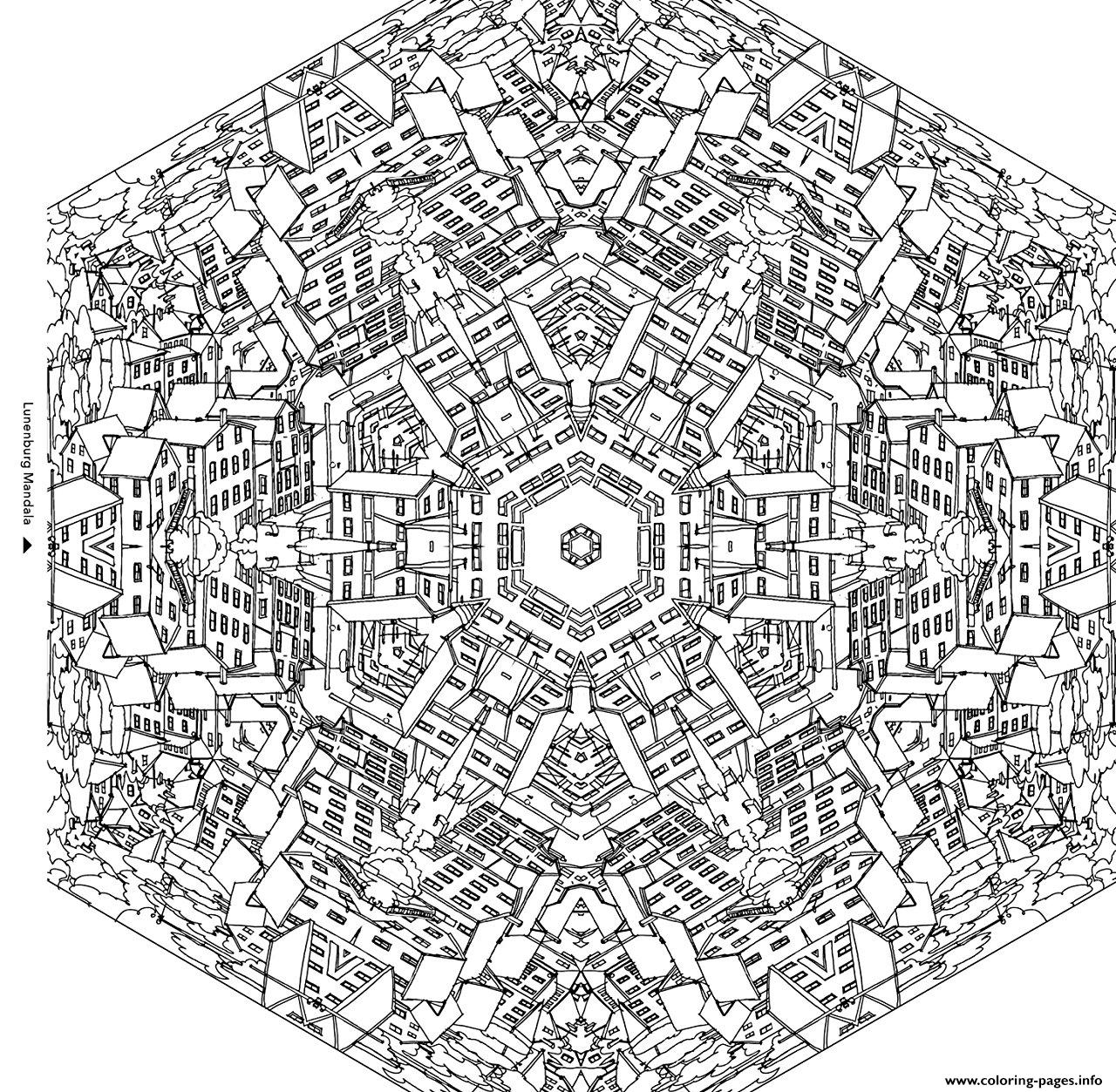 city buildings in a mandala coloring pages printable