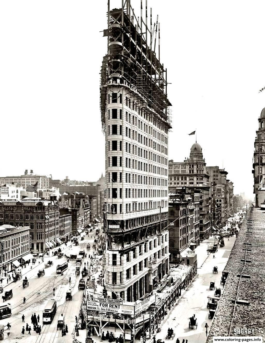 City Adult New York Flatiron coloring pages