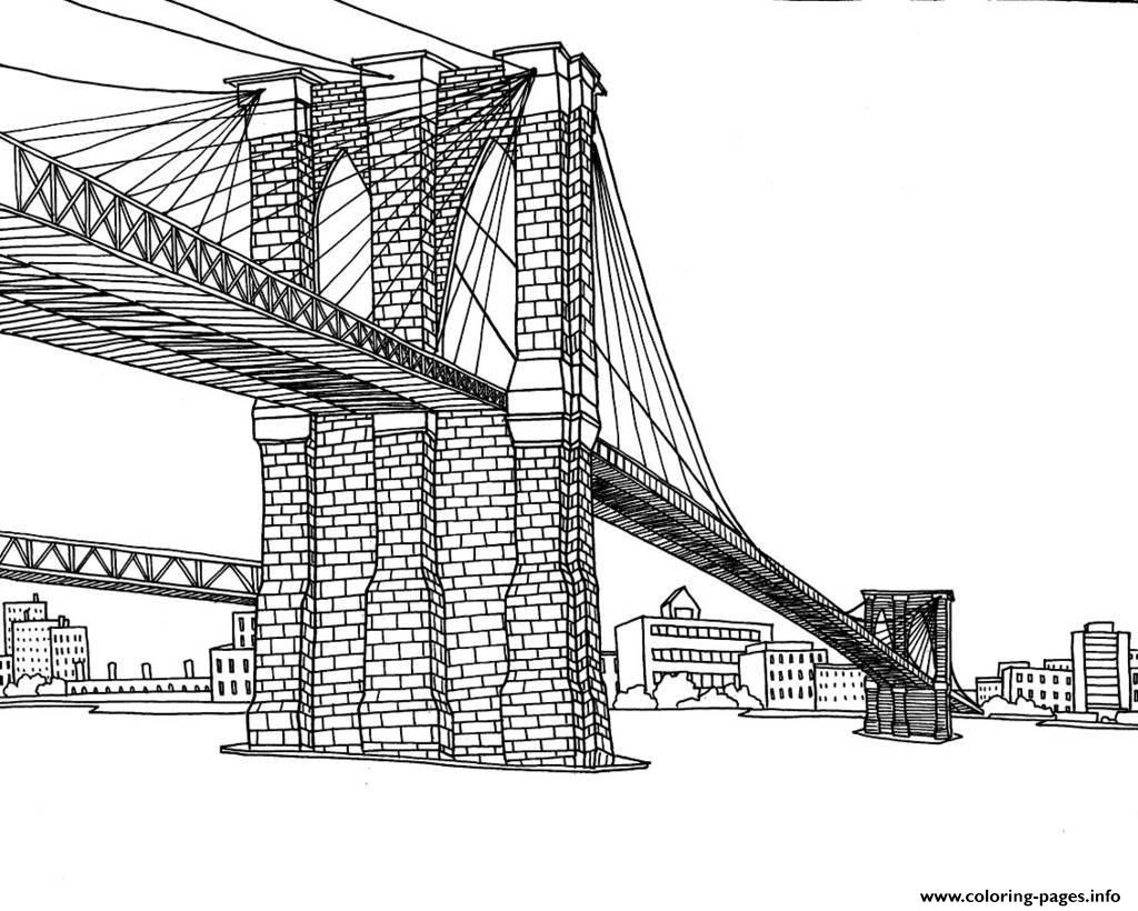City Adult New York Pont Brooklyn Coloring Pages Printable