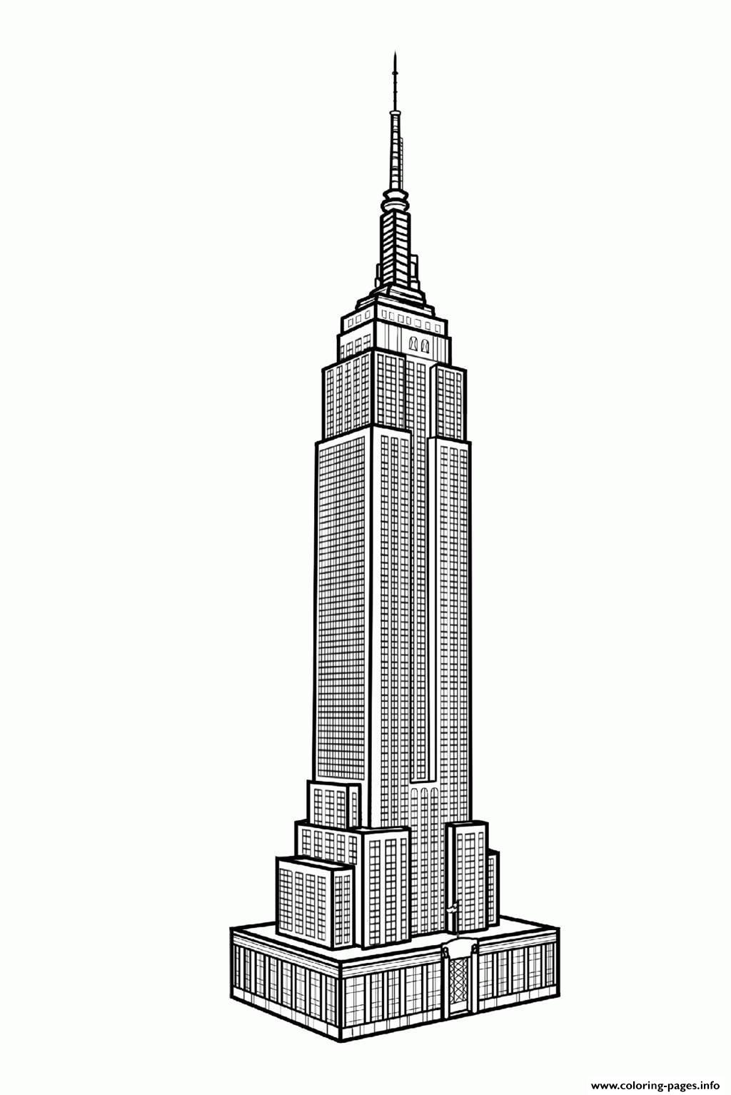 City Adult New York Empire State Building Coloring Pages Printable