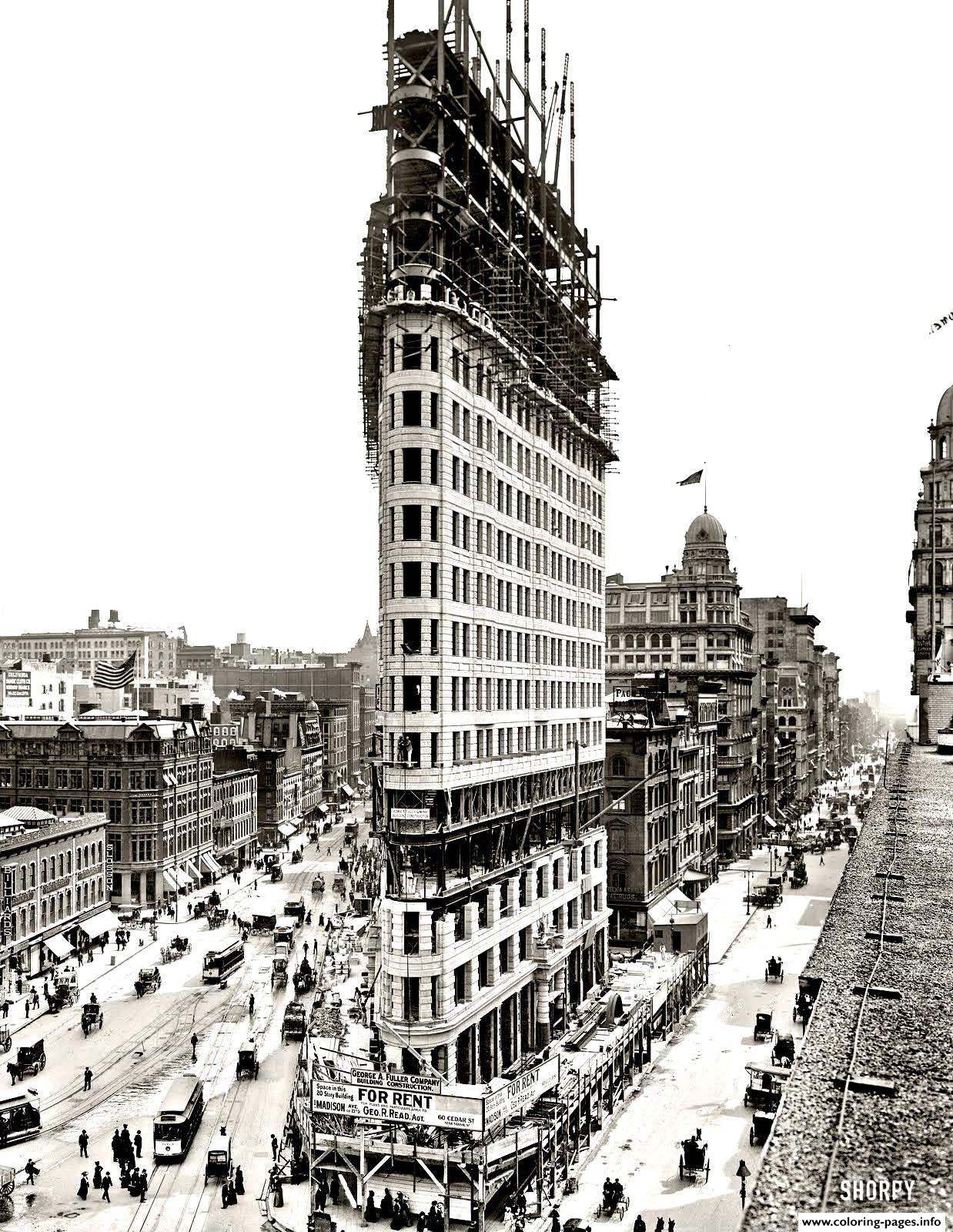 City Coloring Adult New York Flatiron coloring pages