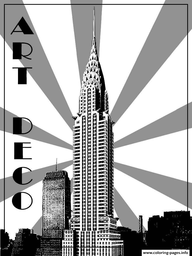 City Adult Art Deco Chrysler Building New York coloring pages