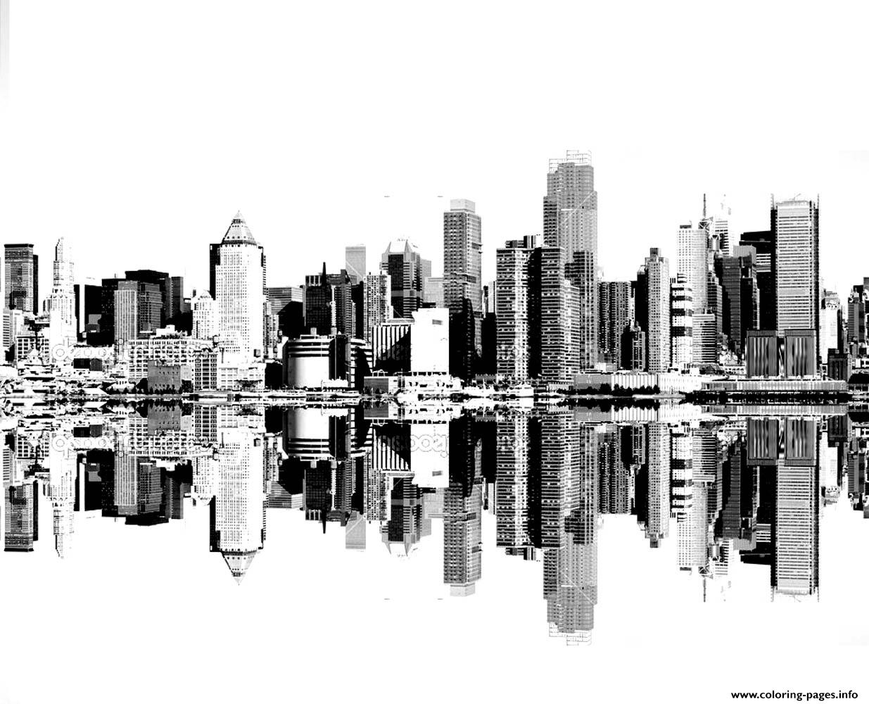 city free mandala to color new york buildings coloring pages