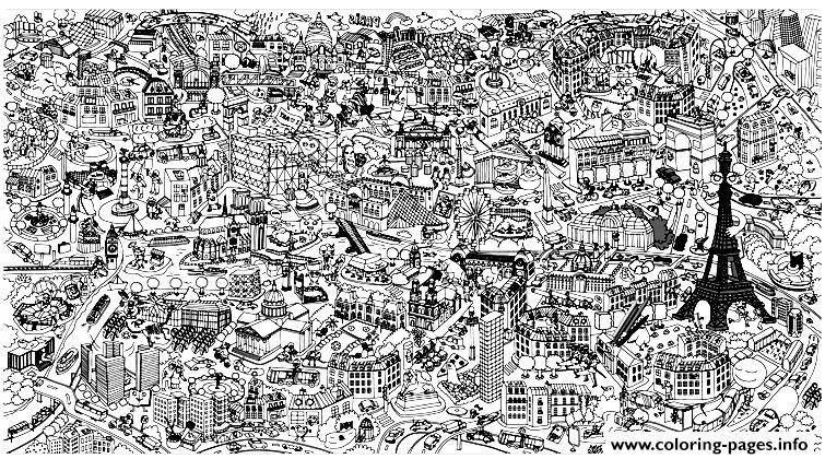 City Fresco Paris Coloring Pages Printable