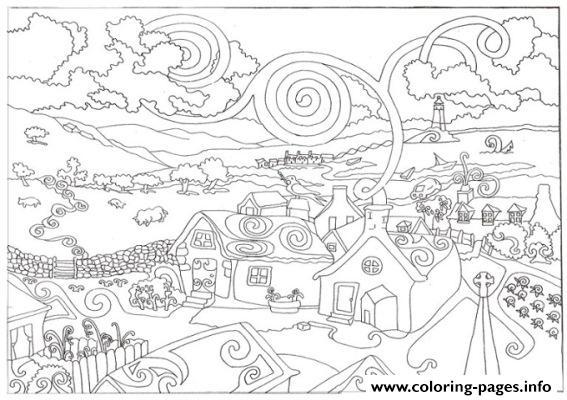 fantasy city s3d8d coloring pages printable
