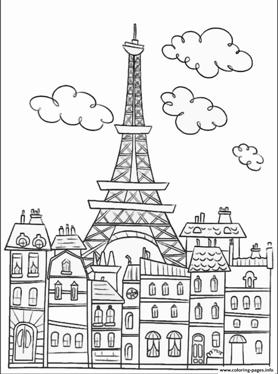 City Adult Paris Buildings And Eiffel Tower Coloring Pages