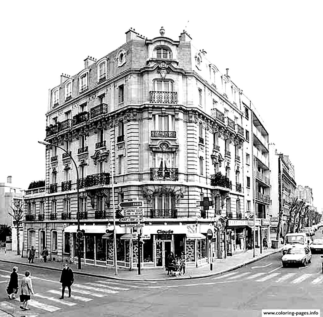 City Adult Paris Haussman coloring pages
