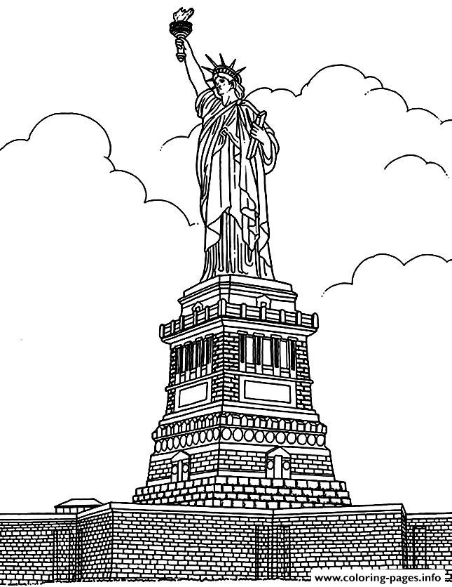 City Coloring Adult New York Statue