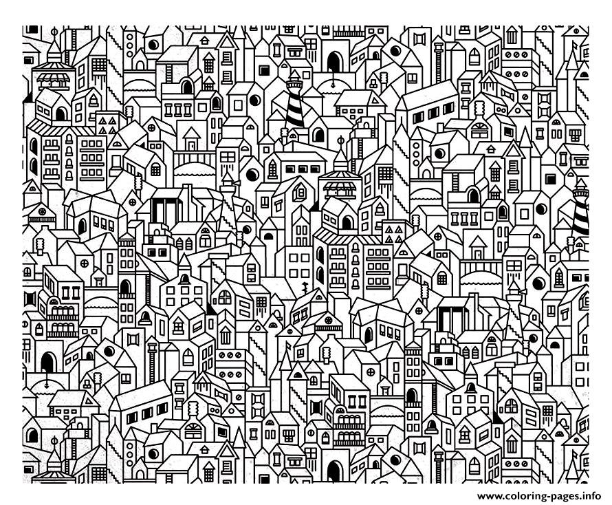 Architecture Big City Coloring