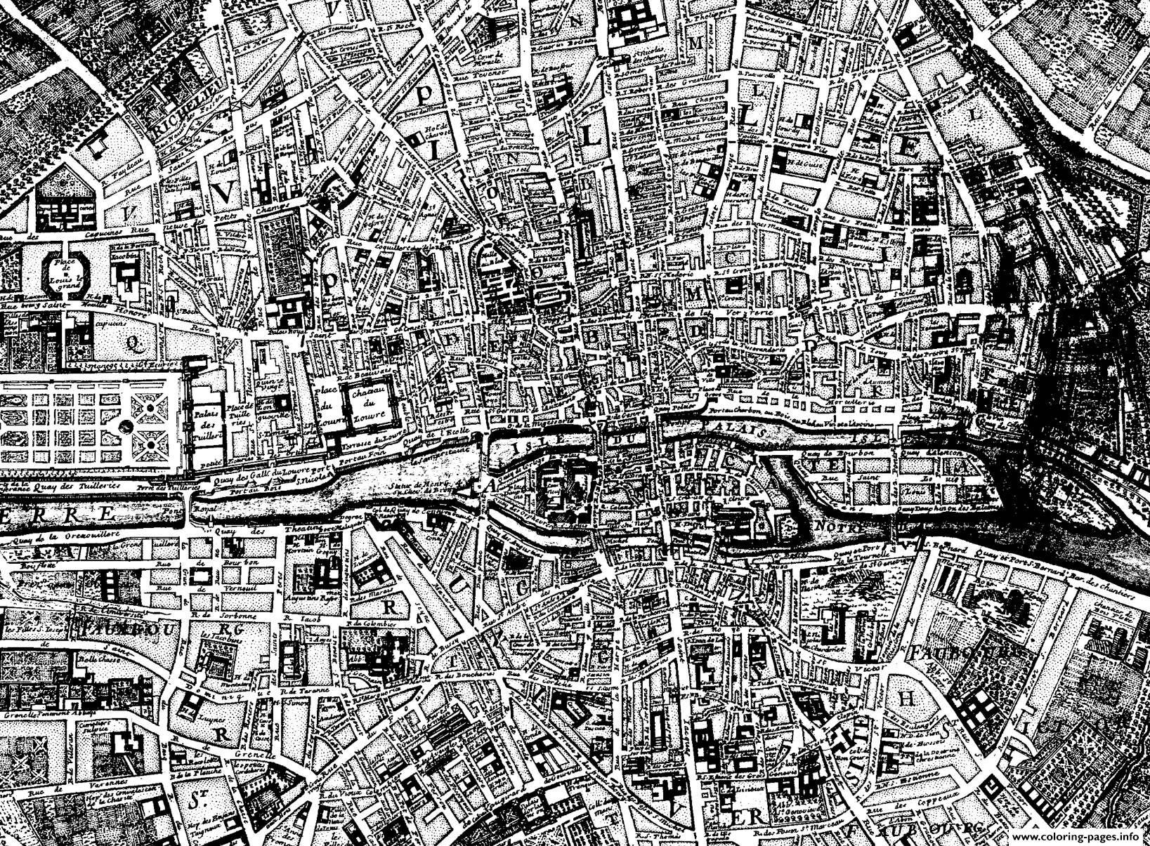 City Map Paris 1750 Coloring Pages
